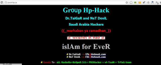 Joomla Canada website defaced by Group Hp-Hack