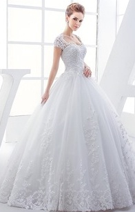 Lace Sweetheart Open Back Short Sleeve Ball Gown Wedding Dress...