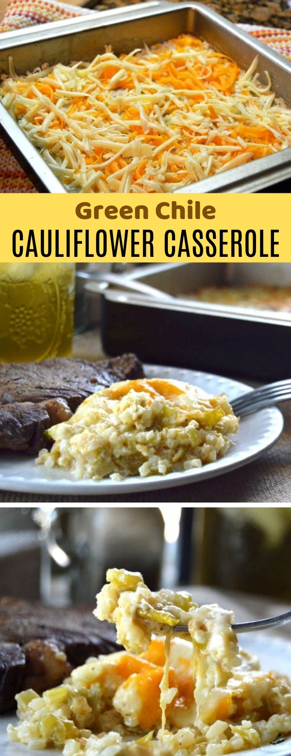 Green Chile Cauliflower Casserole {KETO | Low Carb} #keto #lowcarb #casserole