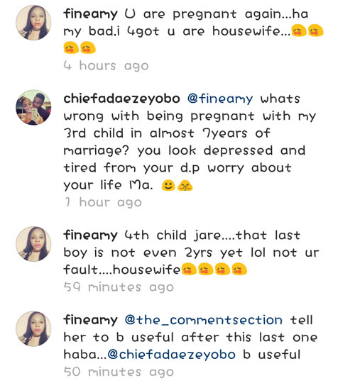 Stop getting pregnant every year: Adaeze Yobo fights dirty with IG follower