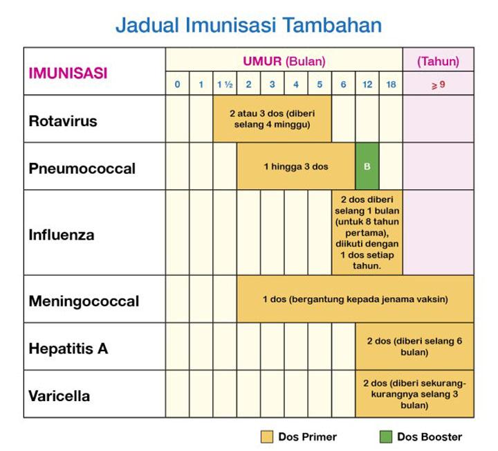 Jadual Pemberian Vaksin atau Suntikan Imunisasi Tambahan Untuk Bayi