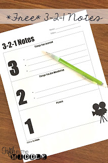 3-2-1 organizer for note taking during videos or other presentations