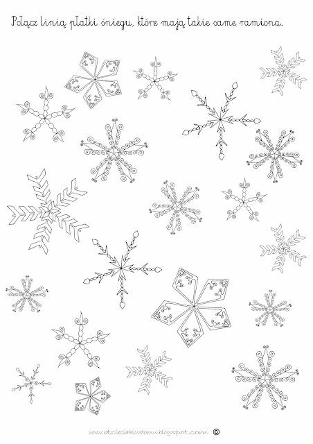 płatki śniegu karta pracy