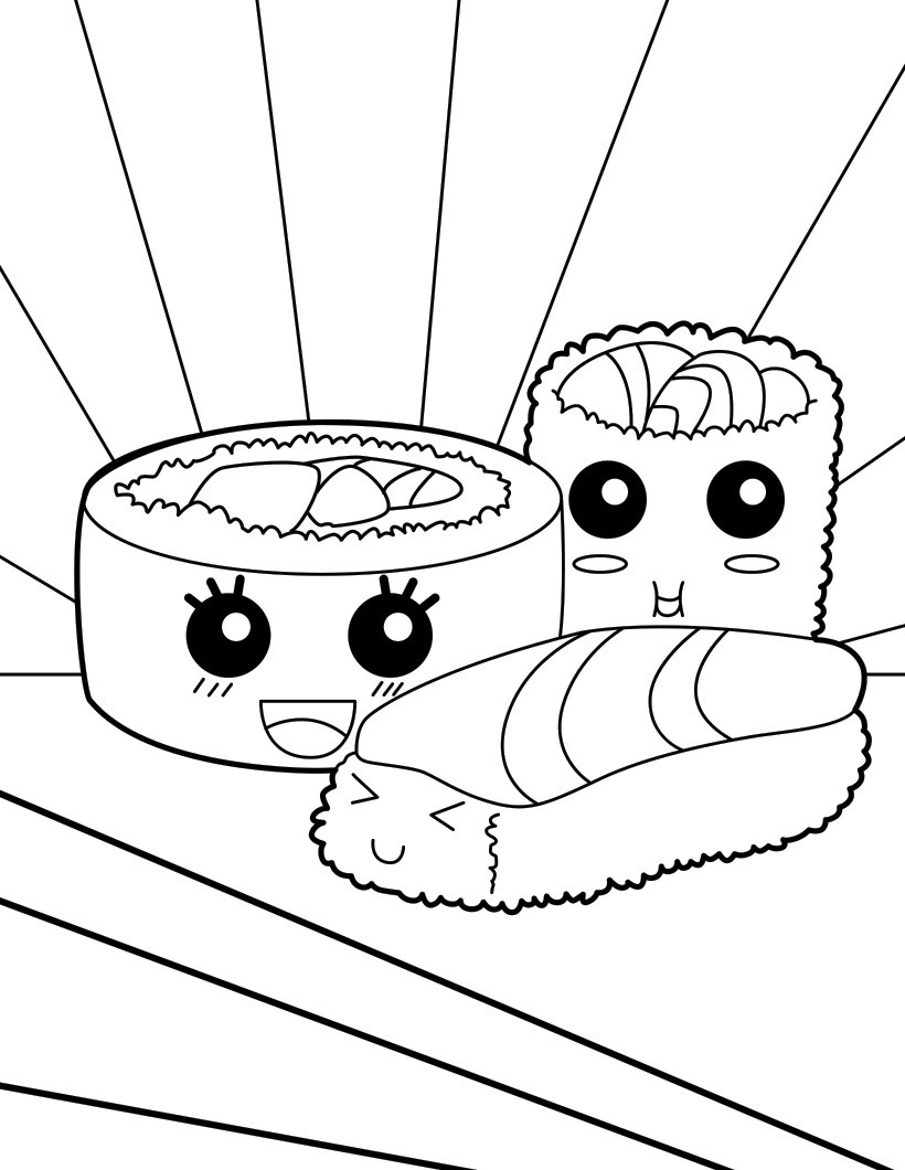 Click to see printable version of Sushi So Cute Coloring page
