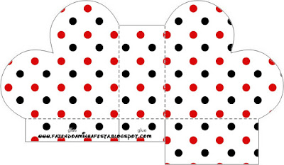 Red Polka Dots in Black and White Heart Shaped Open Box.