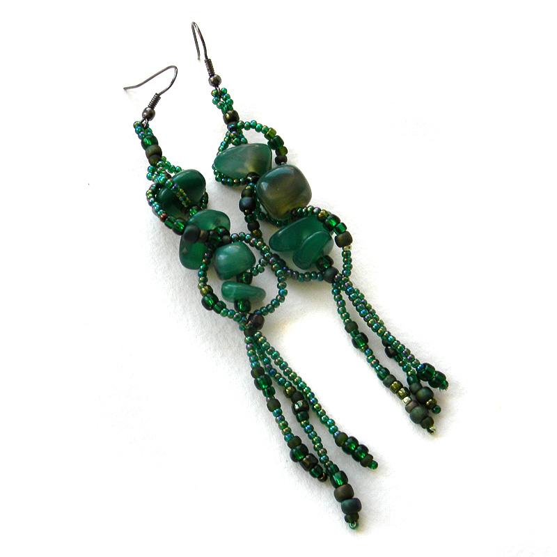 купить длинные серьги зеленые украшения с камнями россия