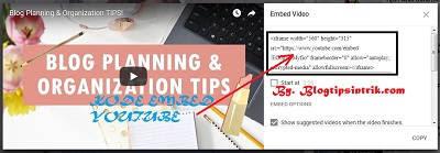 Cara Mudah Mengambil dan Memasang kode Embed Video Youtube ke Blog & Website