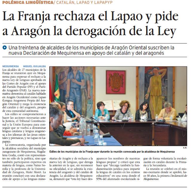 La franja rechaza el lapao y pide a Aragón la derogación de la ley