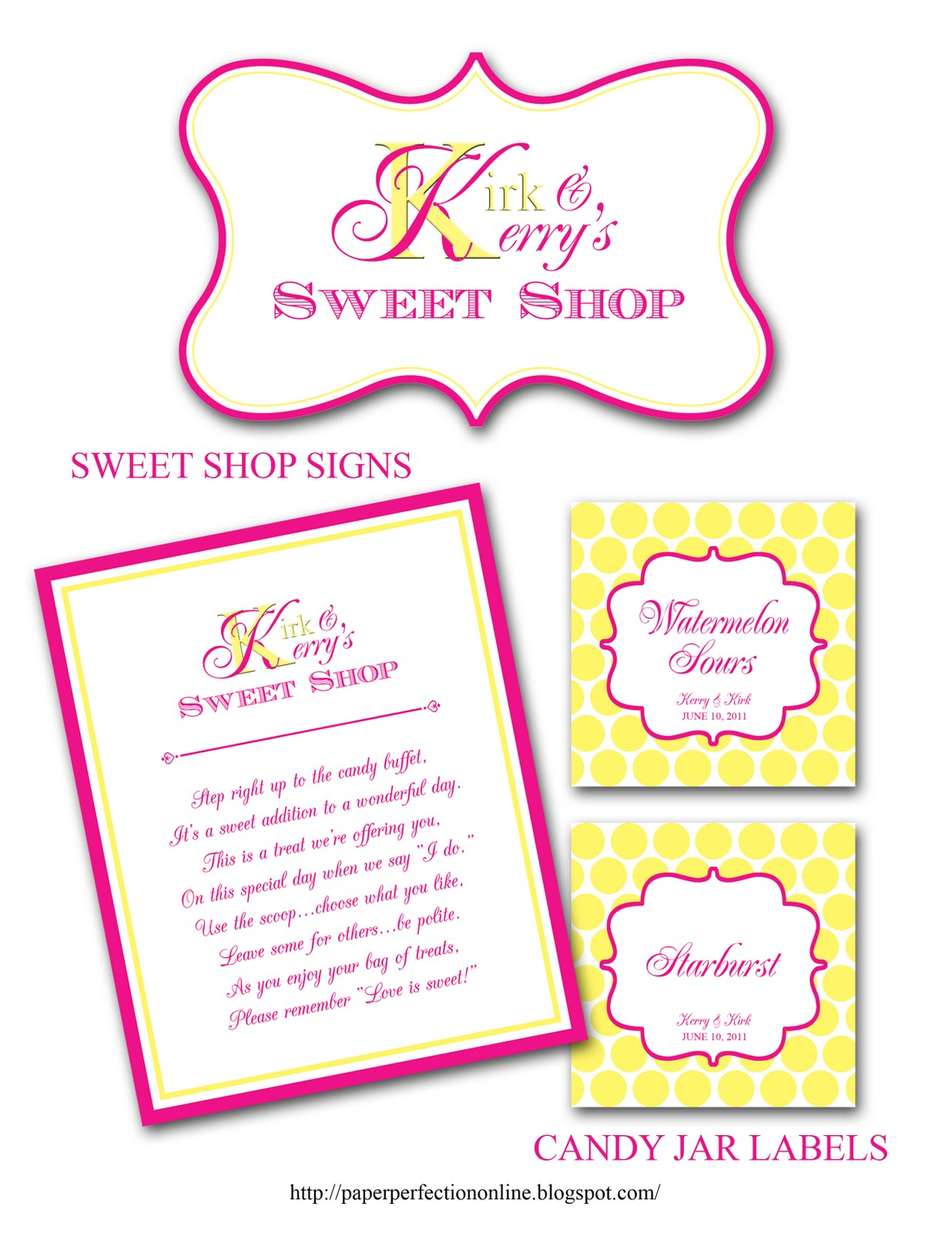Paper Perfection Kerrys Wedding Candy Buffet Labels Signs