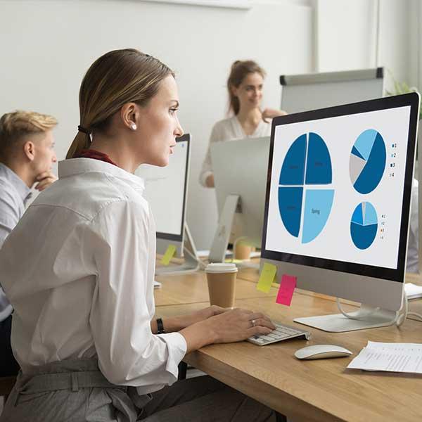 marketer reading analytics report
