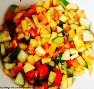 geel rood groen mango paprika komkommer salade roedjak