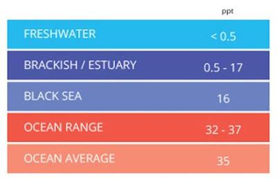 Tabel pembagian Range nilai Salinity pada air