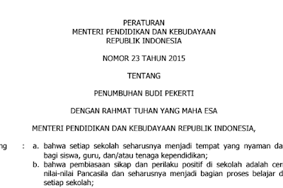 Permendikbud RI Nomor 23 Tahun 2015 tentang Penumbuhan Budi Pekerti