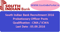 South Indian Bank Recruitment 2016