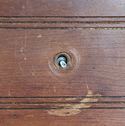 Large Hole in Drawer from Old Knob Shank