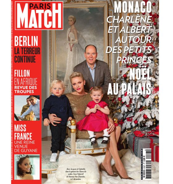 Prince Albert, Princess Charlene and their twins Prince Jacques and Princess Gabriella on French magazine Paris Match. Princess Charlene wore Ralph Lauren Backless Sequin Dress