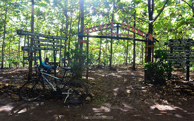 Gapura kecil di Bukit Panguk Kediwung berada di tengah-tengah pepohonan Jati