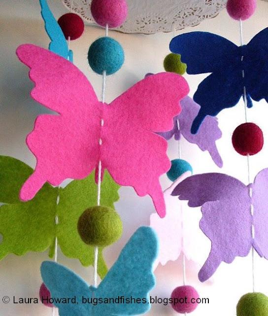 felt butterfly mobile