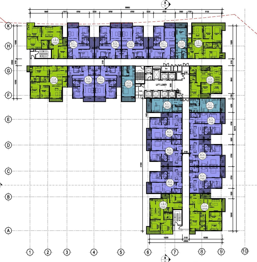 Thiết kế tầng tiêu chuẩn chung cư Gamuda