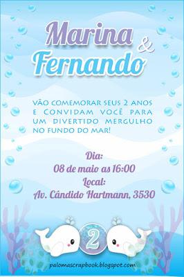 Convite festa fundo do mar