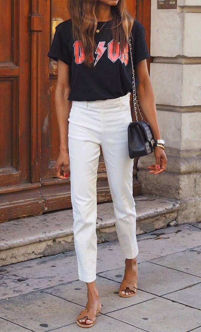casual style addiction / beige slides + white pants + bag + black printed t-shirt