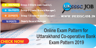 Online Exam Pattern for Uttarakhand Co-operative Bank Clerk cum cashier Junior Branch Manager Exam Pattern 2019