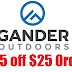 Gander Outdoors: $25 Off A $25+ or More Order + Free Store Pickup or $4.99 Shipping or Free Shipping on $50 Order