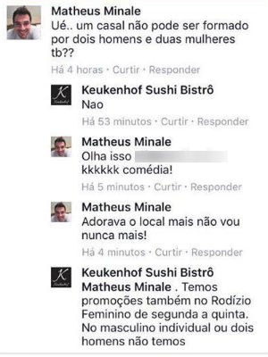 Promoção de restaurante exclui casais do mesmo sexo em Araraquara