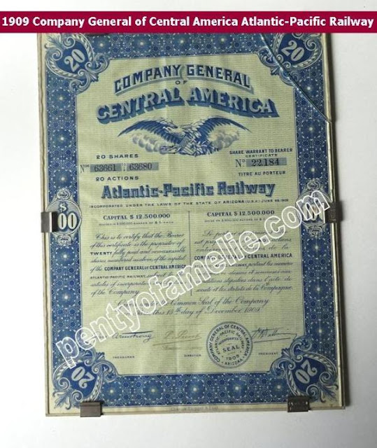 Paris 1909 Company General of Central America Atlantic-Pacific Railway authentic Cert. of 20 Shares $100