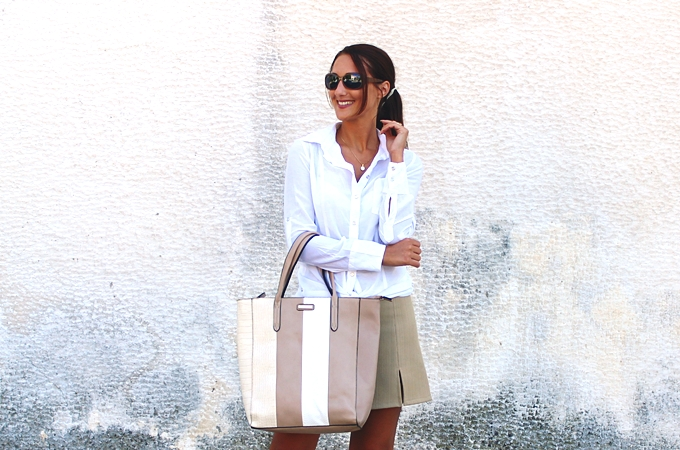 Fullah Sugah beige and white leather and croco striped tote bag