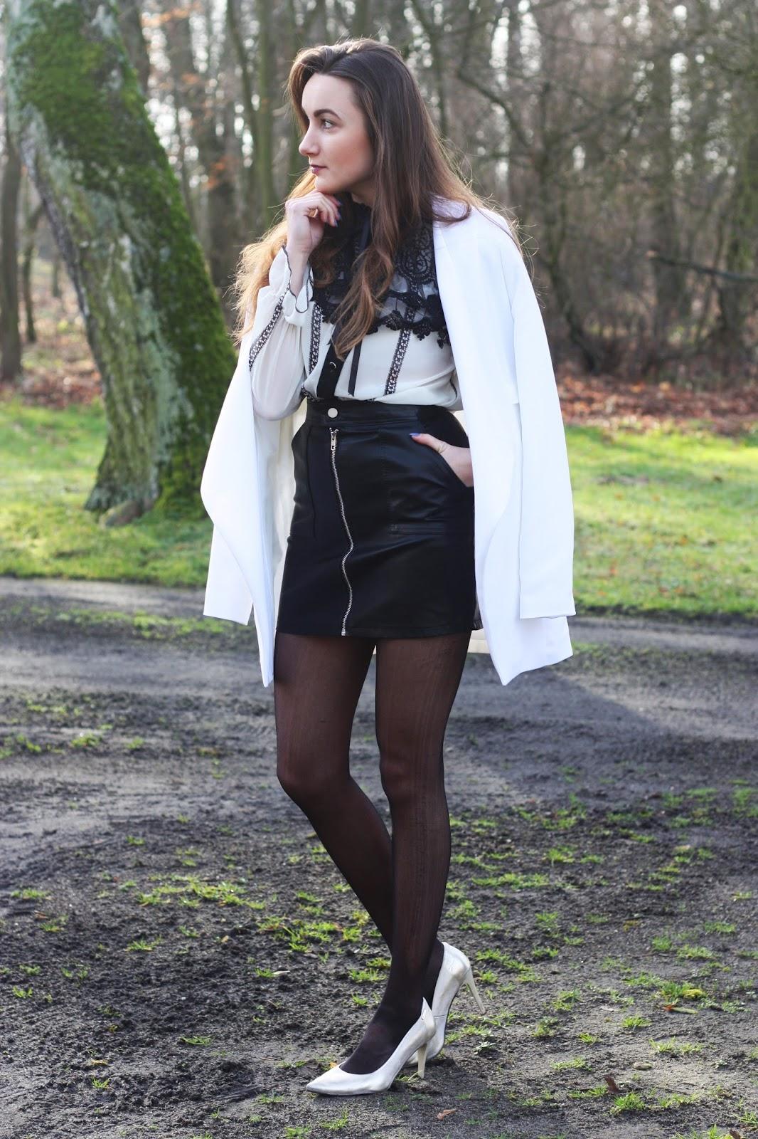 Winter Tights Inspiration Leather Skirt Fashionmylegs