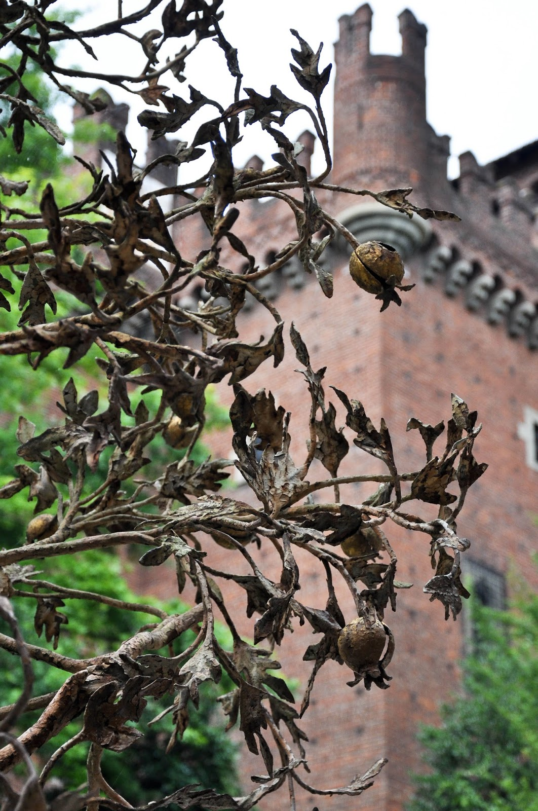 A metal pomegranate tree in Borgo Medievale, Parco Valentino, Turin, Italy