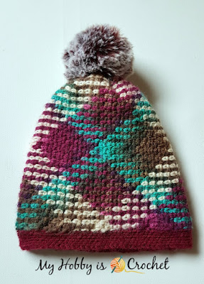 Argyle Hat with Removable Pompom - Free Crochet Pattern