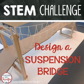 STEM Challenge: Kids love to build bridges! This one is the best STEM challenge we have tackled! It's a suspension bridge!
