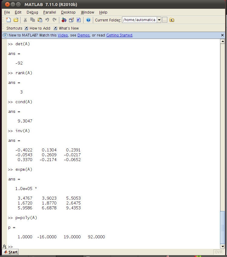 derivar una matriz en matlab code