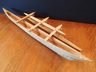 Model of a Samoan single-outrigger paddling canoe