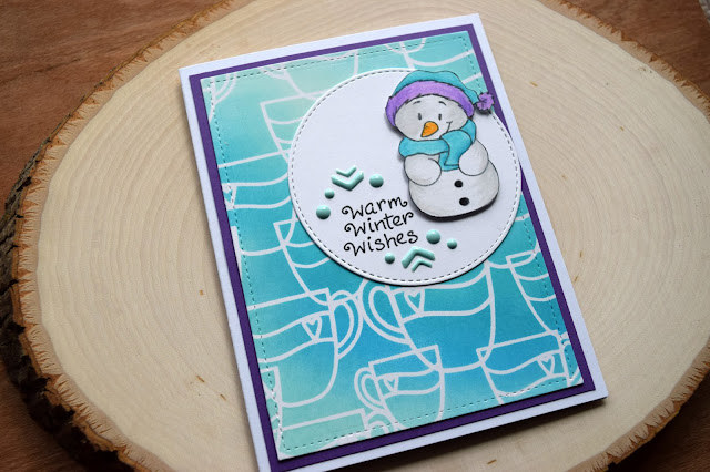 Warm Winter Wishes Snowman Card by Jess Gerstner for Gerda Steiner Designs