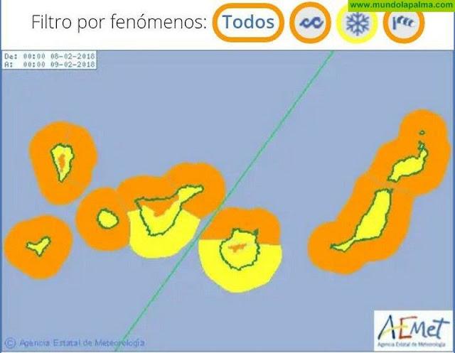 AEMET activa aviso naranja por viento y amarillo por nieve y fenómenos costeros