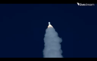 rocket tilting away for orbital insertion