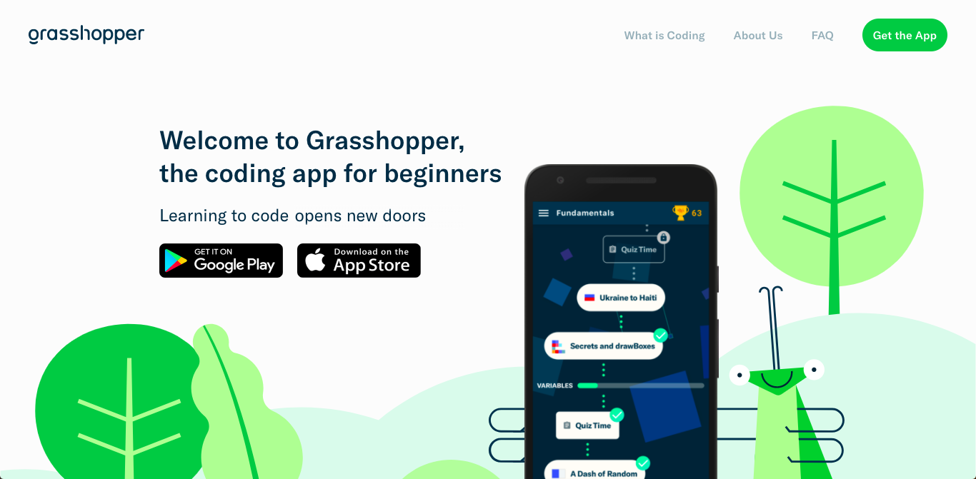 Google 出品免費程式碼學習 App :Grasshopper 取名自最早期知名女性程式設計師
