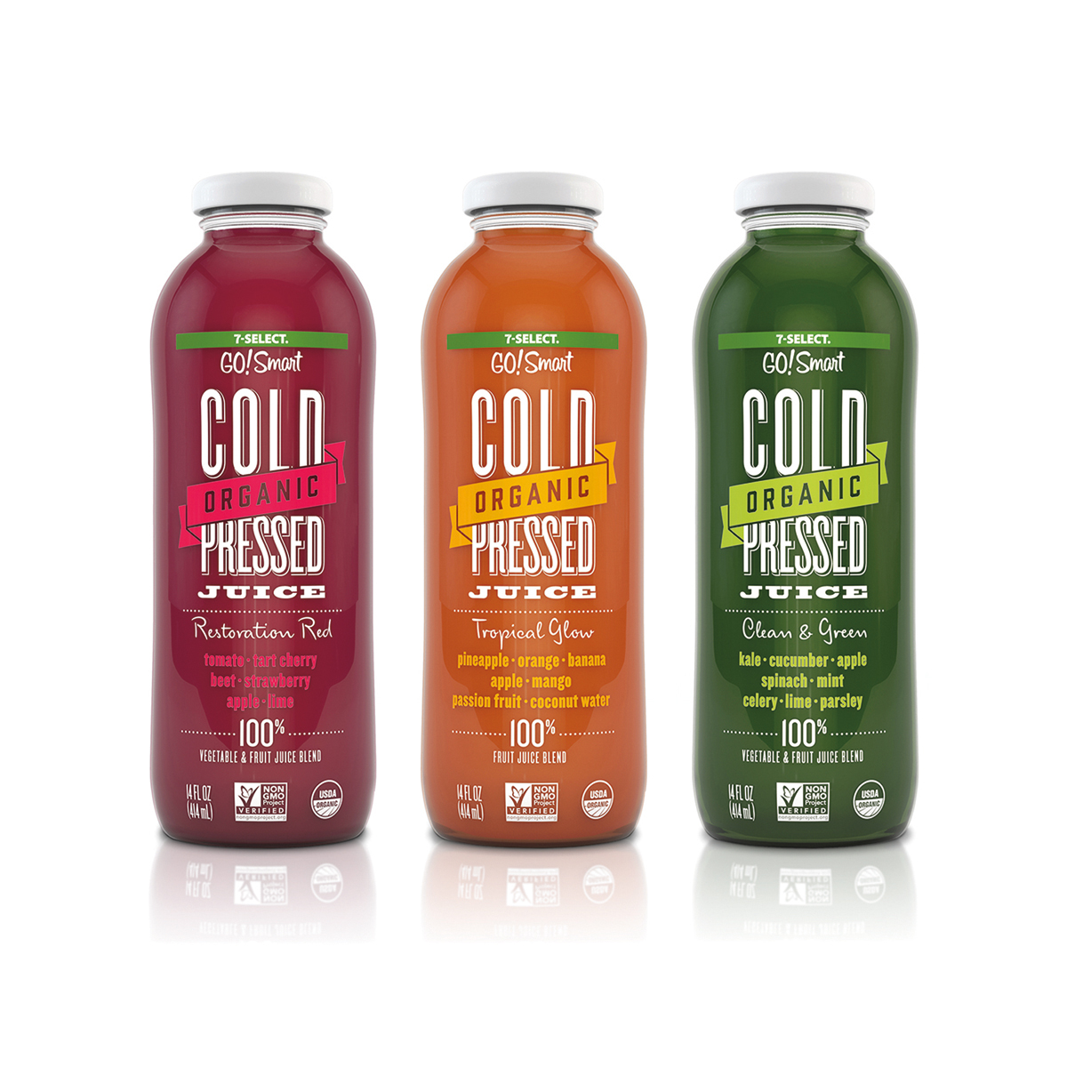 7 Select Go Smart Cold Pressed Juice On Packaging Of The