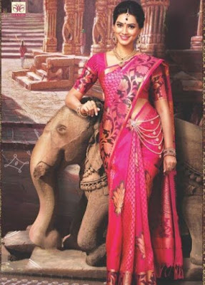 Beautiful Indian Model Girl In Dark Pink Colored Big Jari, Thread Butta Body, Double Piping Kodi Designed Border With Meena Work.