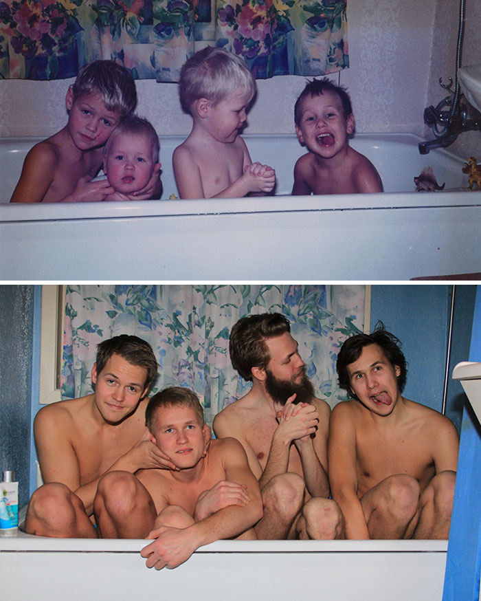 30 Beautiful Recreations Of Childhood Pictures - A Childhood Recreation Pic Of Me, My Brother And Two Cousins