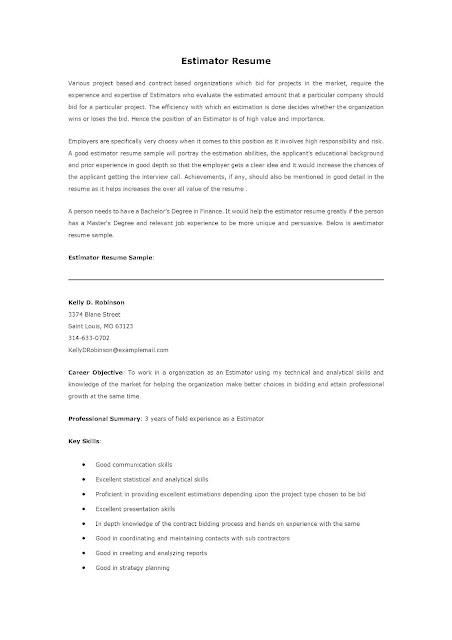 Free Construction Estimator Resume Template indukresumeoneway2me