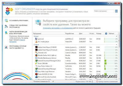 Soft Organizer 6.15 - Интерфейс программы