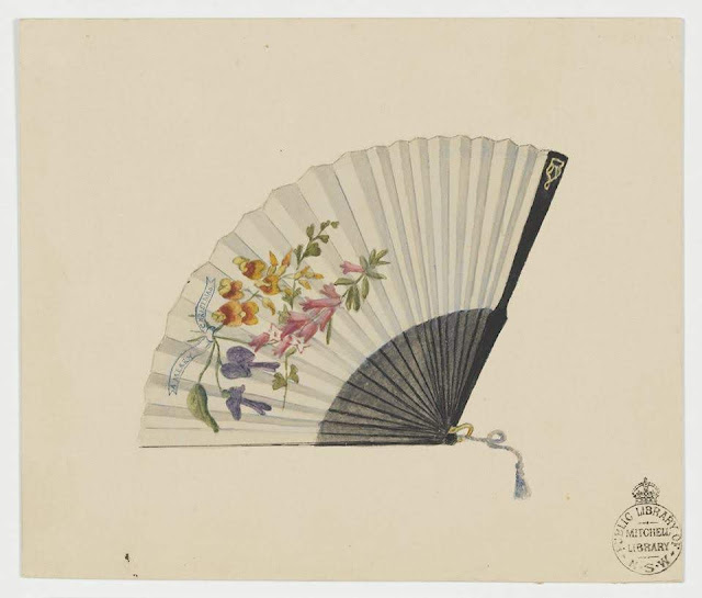 """Christmas Card design depicting a hand-held fan with painted Australian flowers with the words """"A Merry Christmas""""."""
