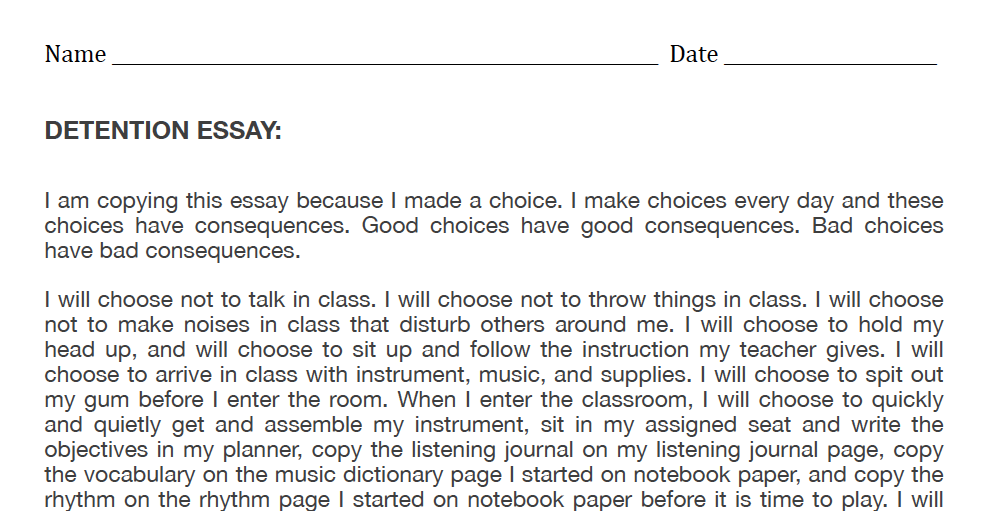 Discipline essays for students to copy