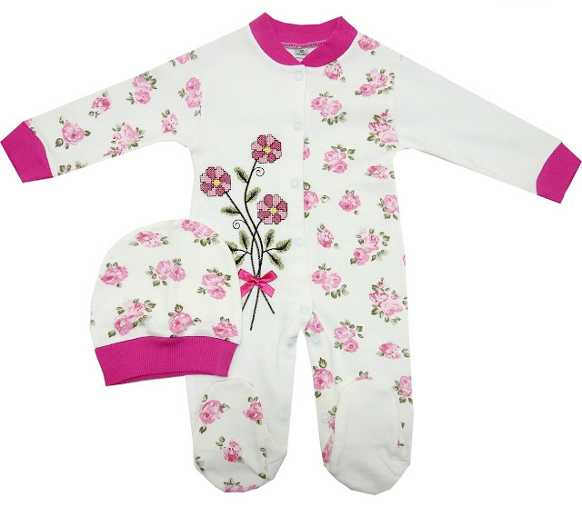 çiçekli bebe tulum modelleri çiçek işlemelei desenli