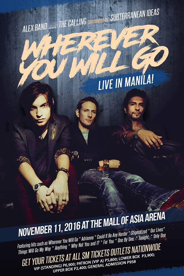 Alex Band, The Calling Live in Manila, November 11, 2016 poster