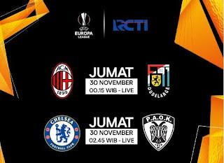 Jadwal Siaran Langsung Liga Europa di RCTI: Milan dan Chelsea